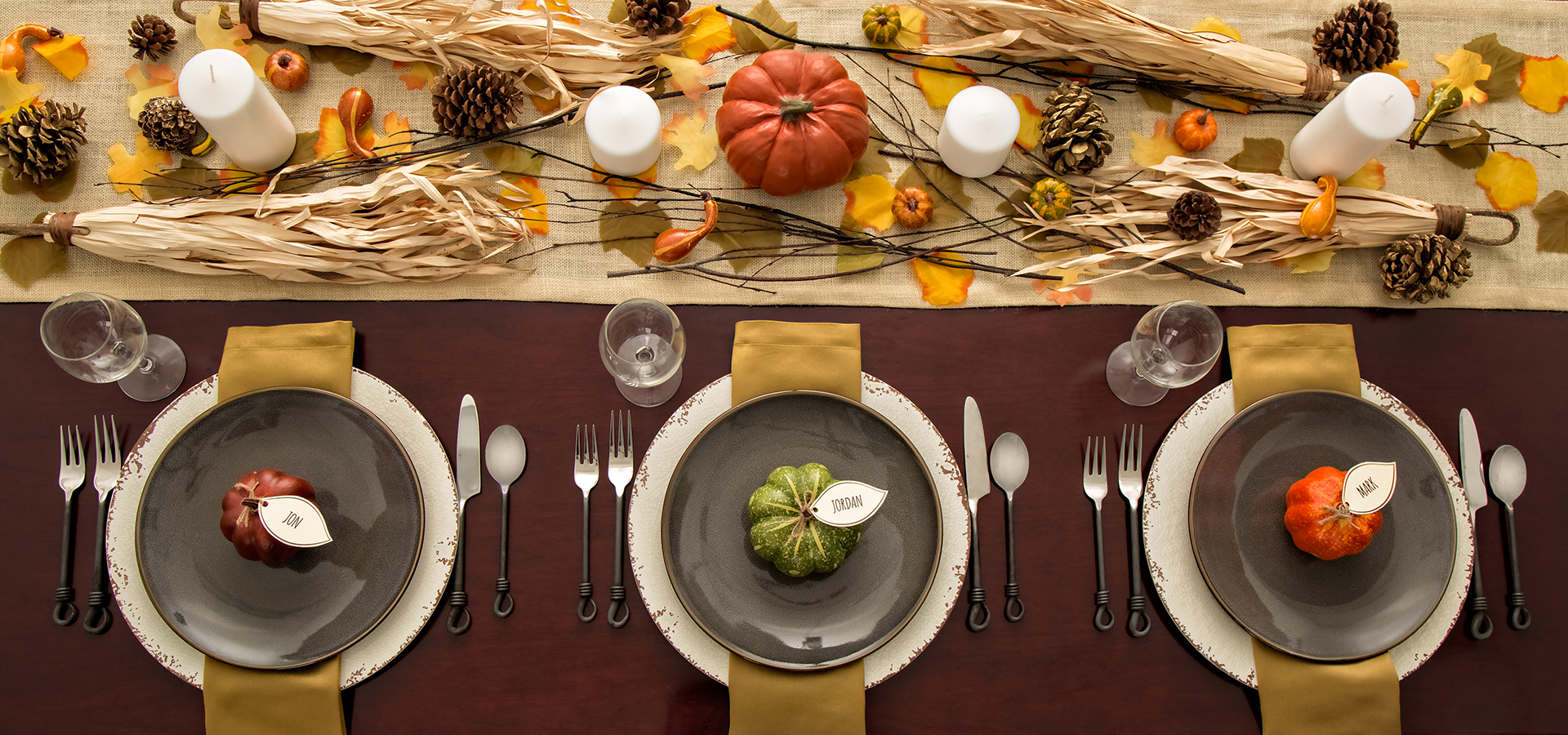 Thanksgiving themed tablescape and place settings