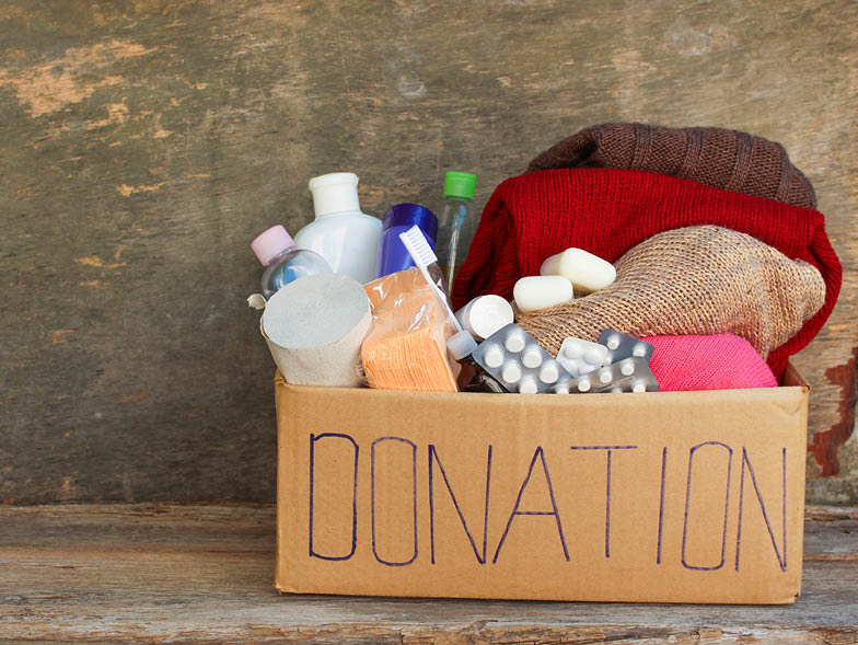 Box of items labeled for donation