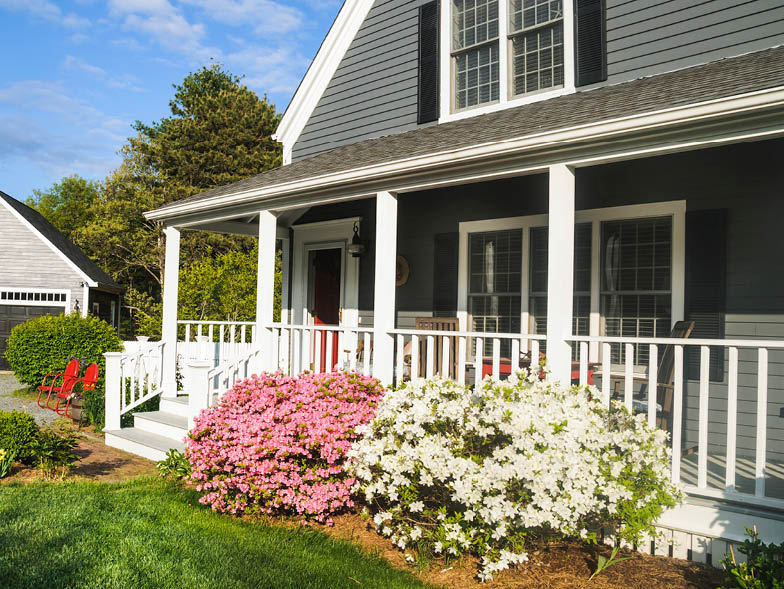 Front of house with pink and white flowering bushes