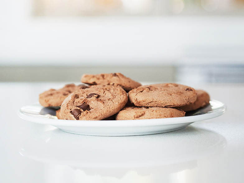 Plate of chocolate chip cookies