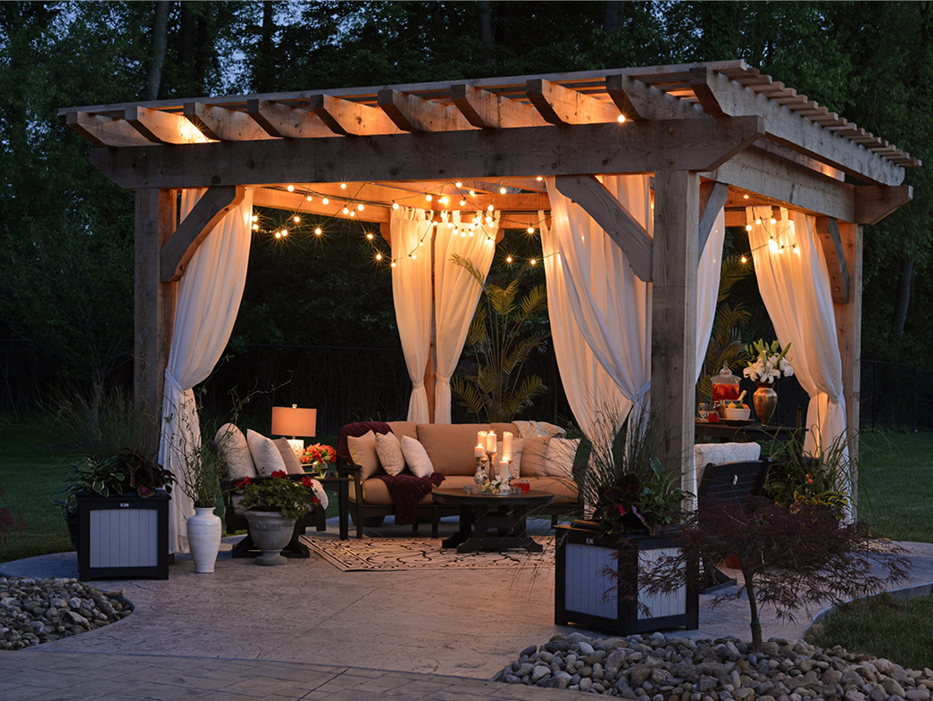 Fancy patio area at night