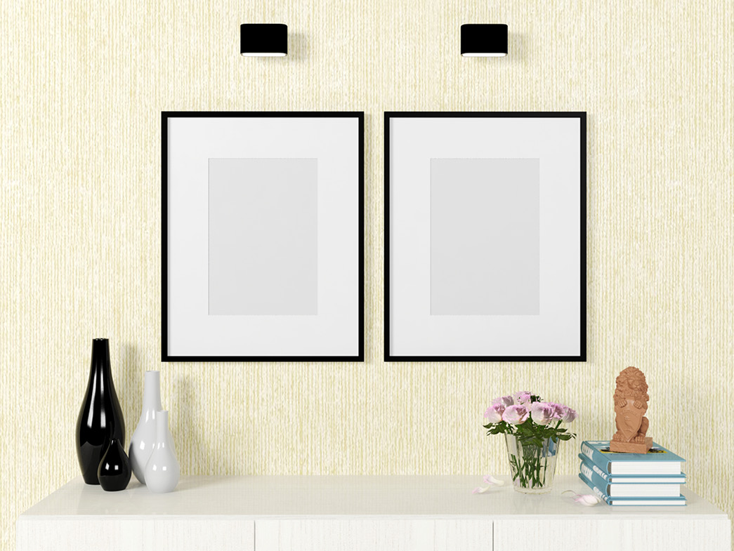 Picture frames at eye level