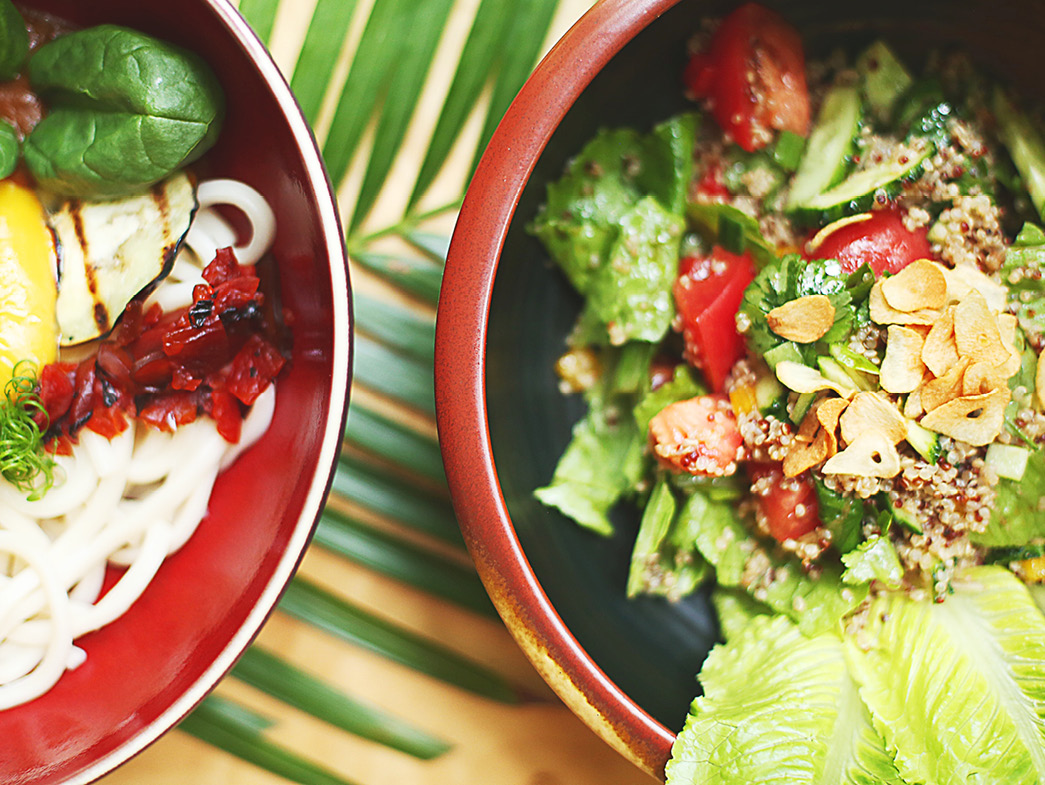 Summer foods in bowls