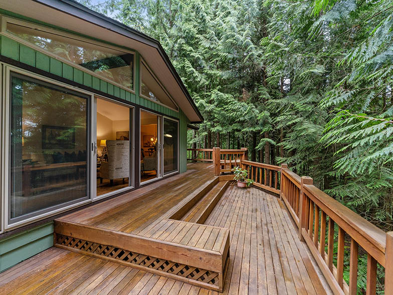 wood deck with trees