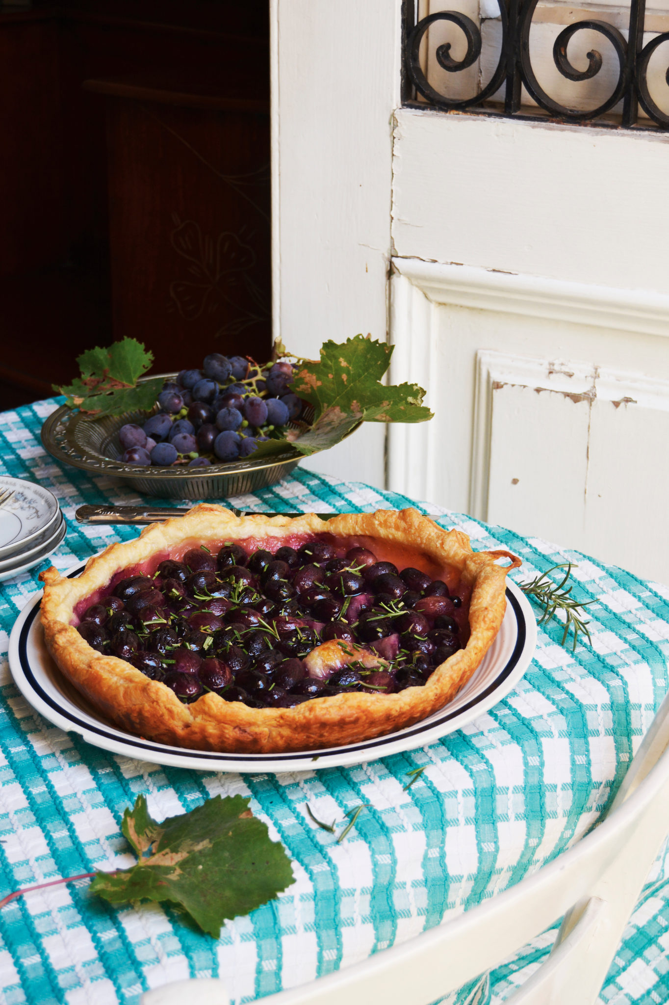 grape and rosemary tart
