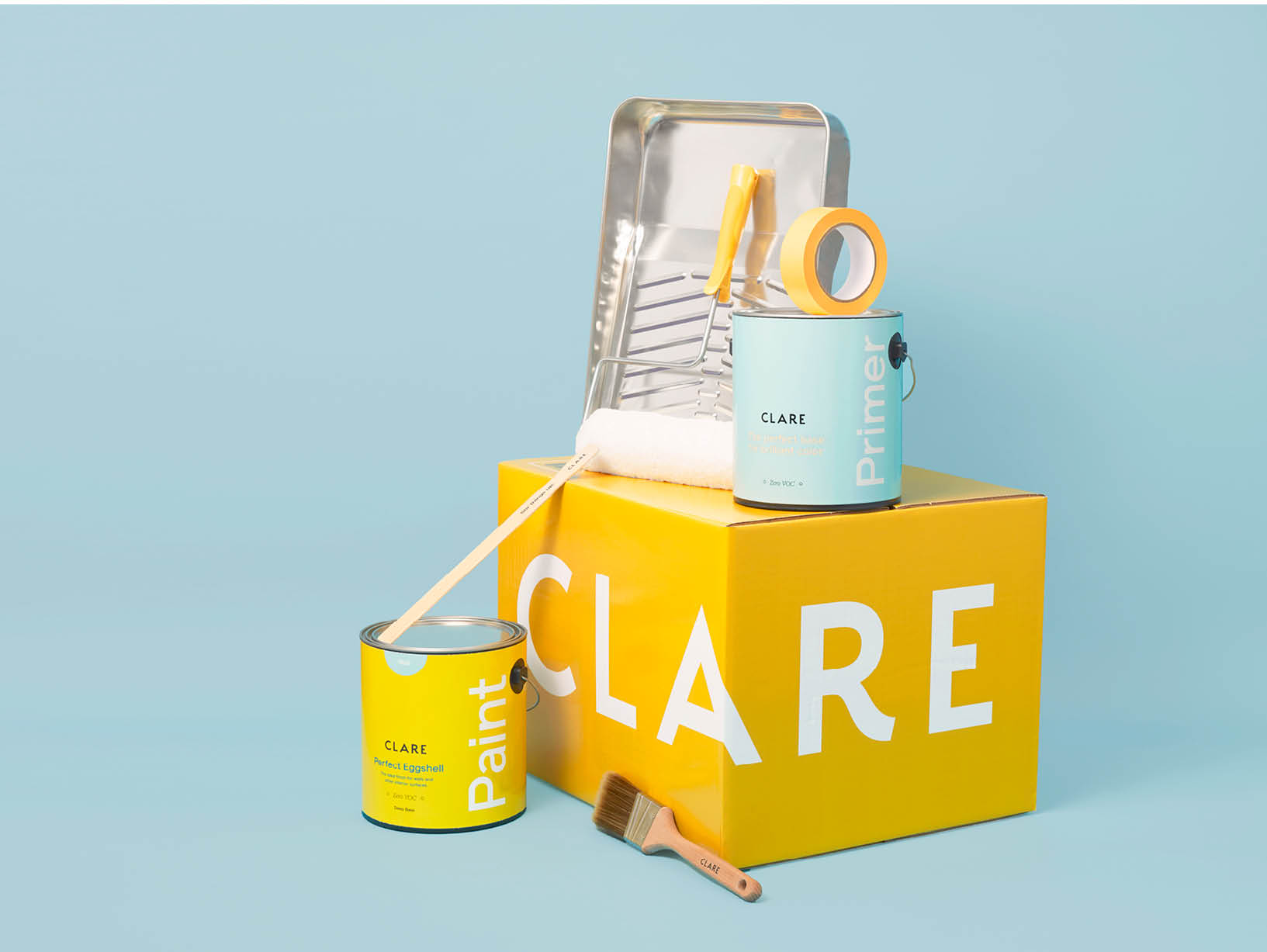 yellow box of clare paint supplies